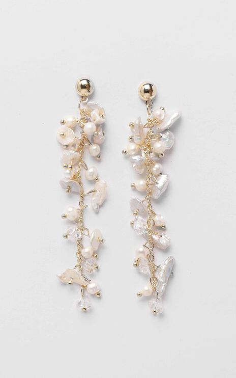 JT Luxe - Harper Pearl Drop Earrings in Gold