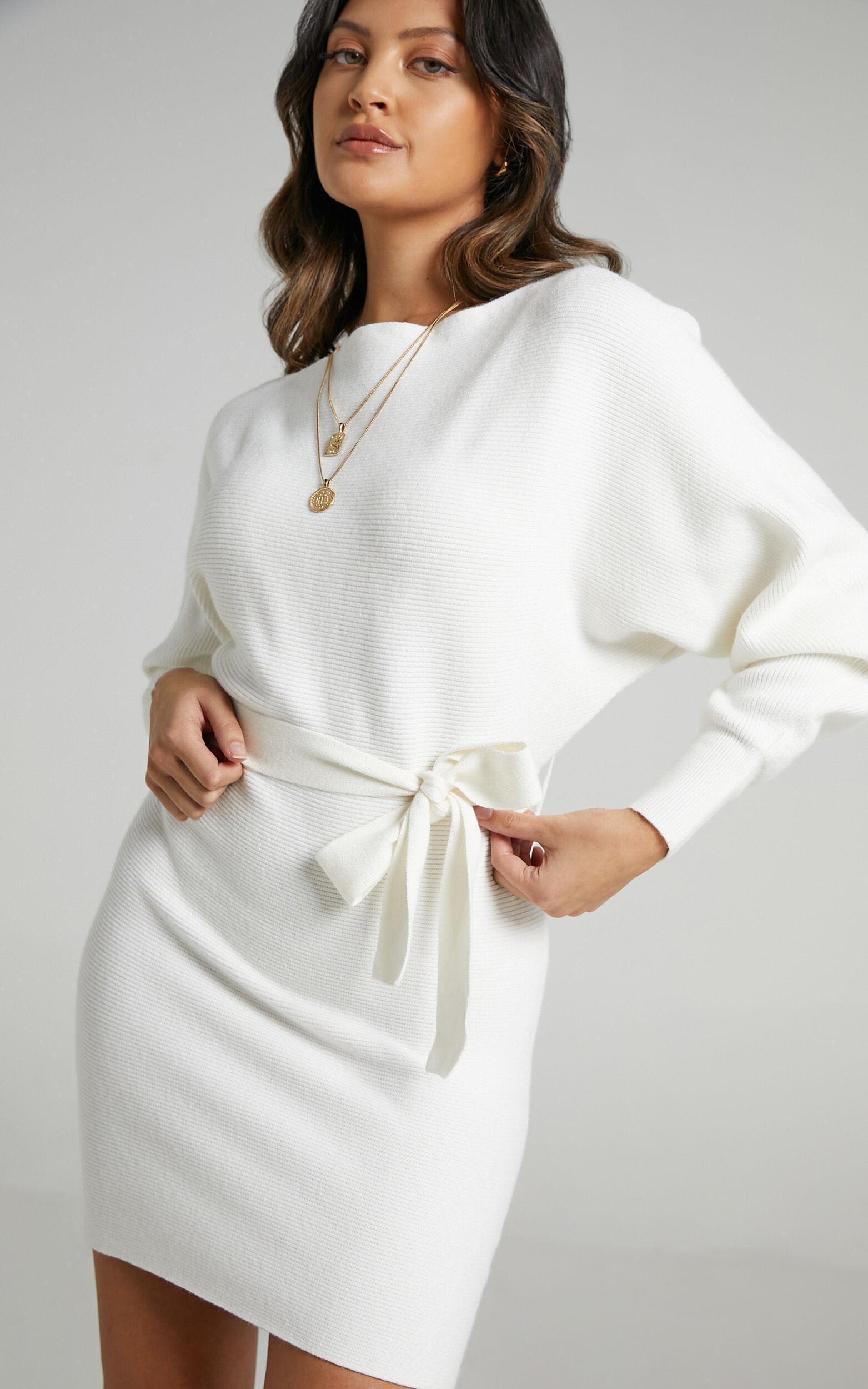La Fleur Long Sleeve Knit Dress in Cream - 06, CRE2, super-hi-res image number null