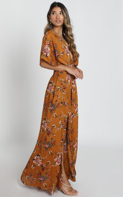 Vacay Ready Maxi Dress In Mustard Floral - 4 (XXS), Mustard, hi-res image number null