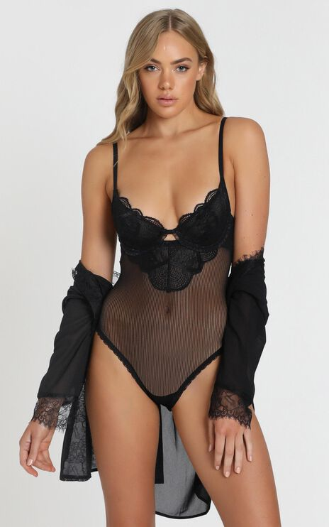 Kat The Label - Zephyr Lace Bodysuit in Black