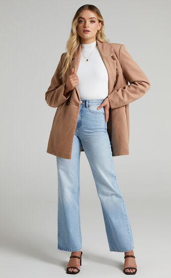 Kora Oversized Button Up Coat in Camel
