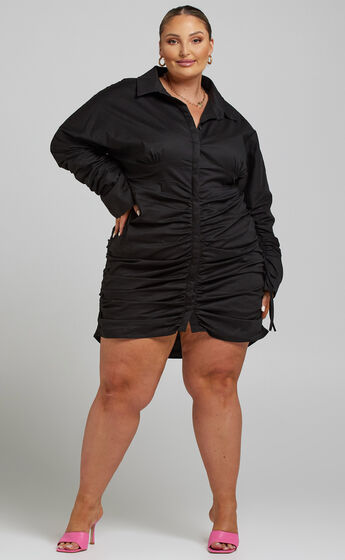 Ida Ruched Button Up Shirt Dress in Black