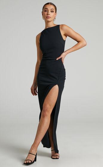 Indi Boat Neck Bodycon Maxi Dress in Black