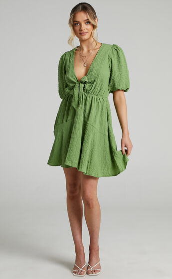 Rosalei Puff Sleeve Tie Front Mini Dress in Green