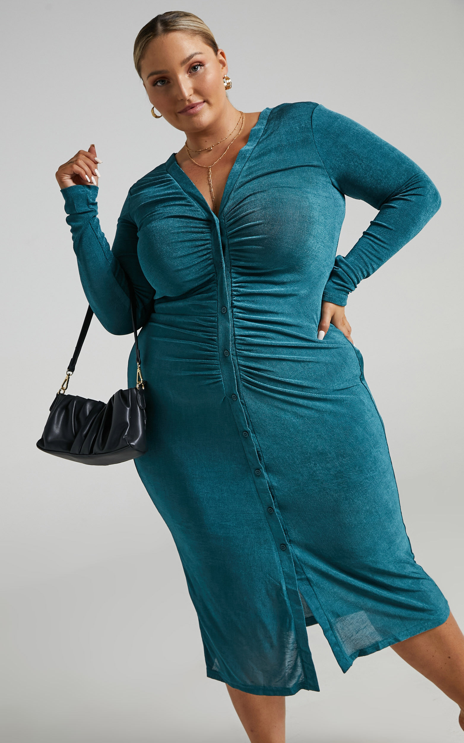 Keagan Ruched Button Front Midi Dress in Emerald - 04, GRN1, super-hi-res image number null