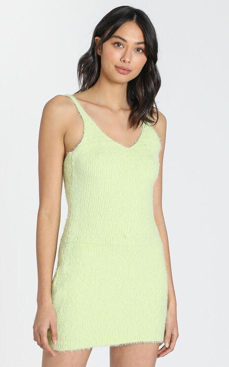 Leni Fluffy Knit Dress in Lime