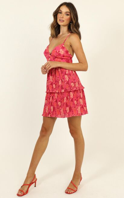 Somethings On My Mind Dress in berry floral - 14 (XL), Pink, hi-res image number null