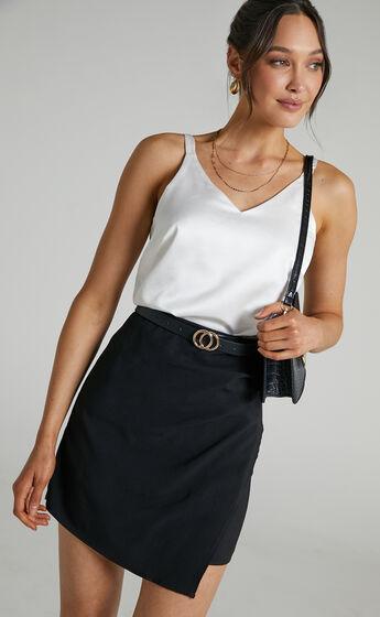 Larra Asymmetrical Pleated Skirt in Black