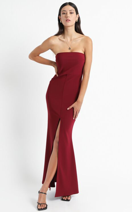 One More Kiss Maxi Dress In Wine