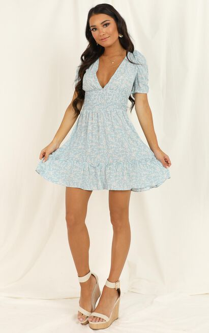 Young Ambition dress in blue floral - 12 (L), Blue, hi-res image number null