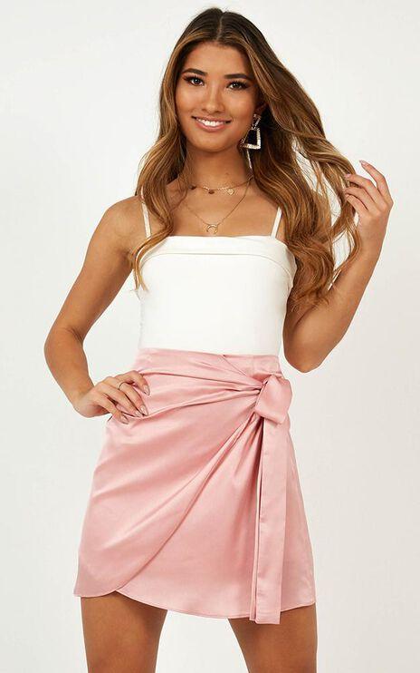 Lost At Night Skirt In Blush Satin