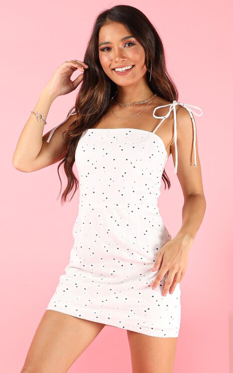 Different Side Dress In White Print