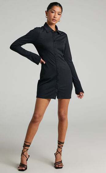 Kendra Long Sleeve Collared Button Down Shirt Dress in Black