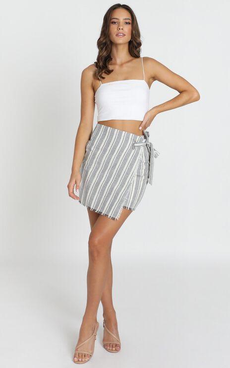 Bad At Goodbye skirt in grey stripe