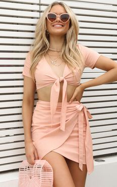Gather Your Things Two Piece Set In Blush Linen Look