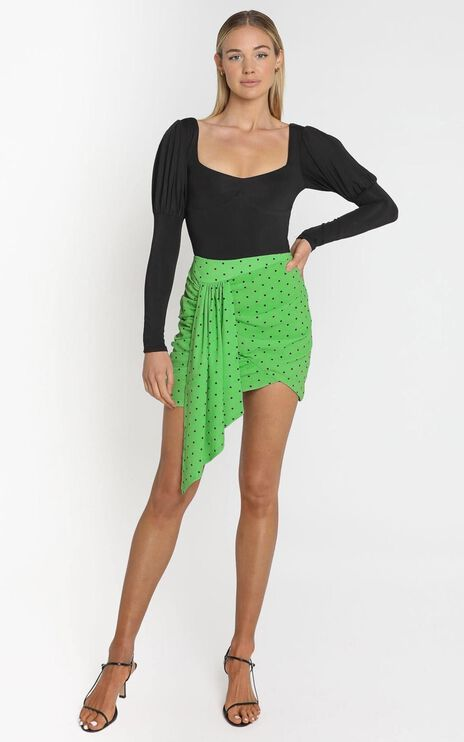 Bianca Mini Skirt in Green Polka