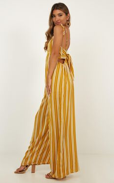 Love To Talk Jumpsuit In Mustard Stripe