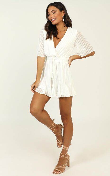 Play On My Heart Playsuit In White