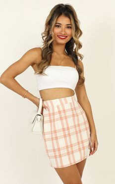 First Editions Skirt In Peach Check