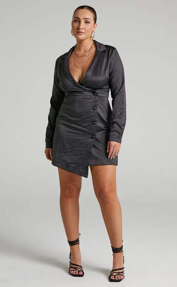 Nevie Wrap Style Blazer Dress in Black