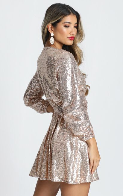 Three Of Us Dress in gold sequin - 20 (XXXXL), Gold, hi-res image number null