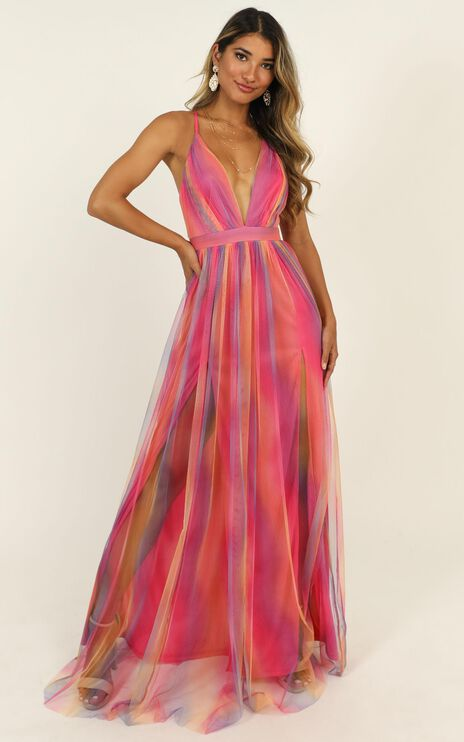 Sweet Romance Mesh Maxi Dress In Pink Multi