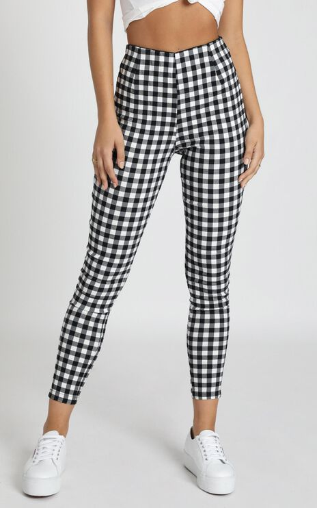 Business District Ankle Grazer Pants In Black Gingham