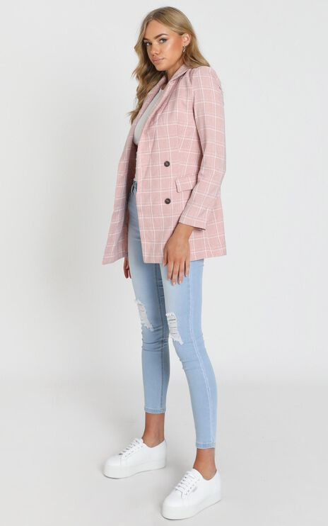 Sort It Out Blazer in Blush Check
