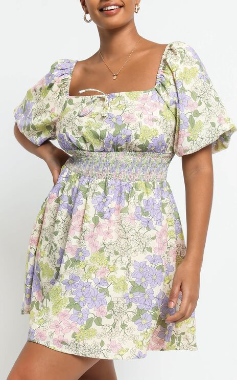 Phoebe Ruched Mini Dress in Garden Floral