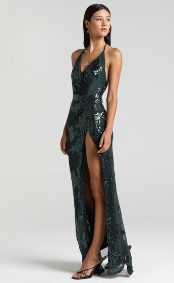 Out Till Dawn Maxi Dress in Emerald Sequin
