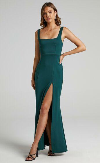 Raquelle Square Neck Thigh Split Maxi Dress in Emerald