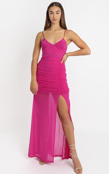 Gigi Dress in hot pink mesh