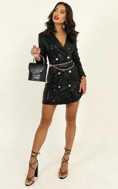 Lioness - Real Life Blazer Dress In Black Sequin