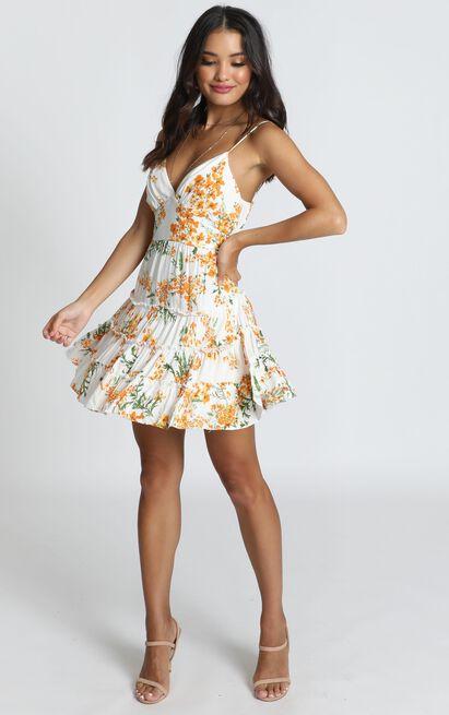 Dreamgirl Dress in orange floral - 12 (L), Orange, hi-res image number null