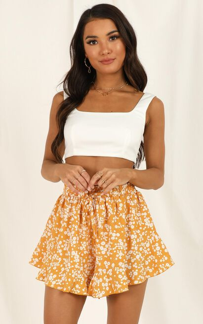 calling all hearts short in mustard floral - 18 (XXXL), Mustard, hi-res image number null
