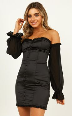 Lioness - Perfect Kind Dress In Black Satin