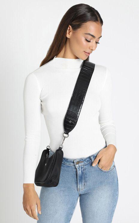 Peta and Jain - Ramone Bag Strap in Black Croc