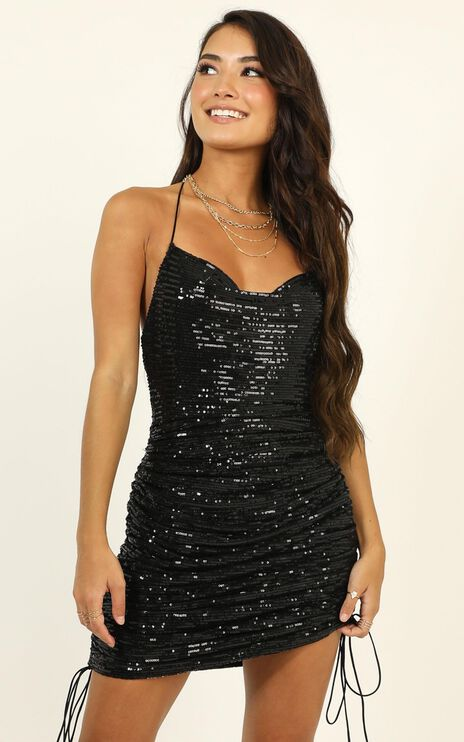Lioness - String Along Dress In Black Sequin