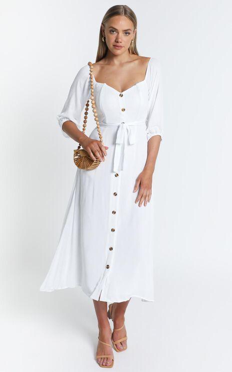 Sorrento Dreaming Dress In White Linen Look