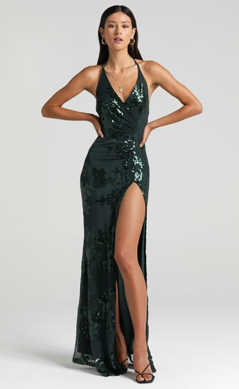 Out Till Dawn Split Maxi Dress in Emerald Sequin