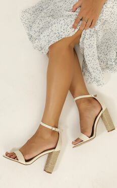 Billini - Jessa heels in off white linen