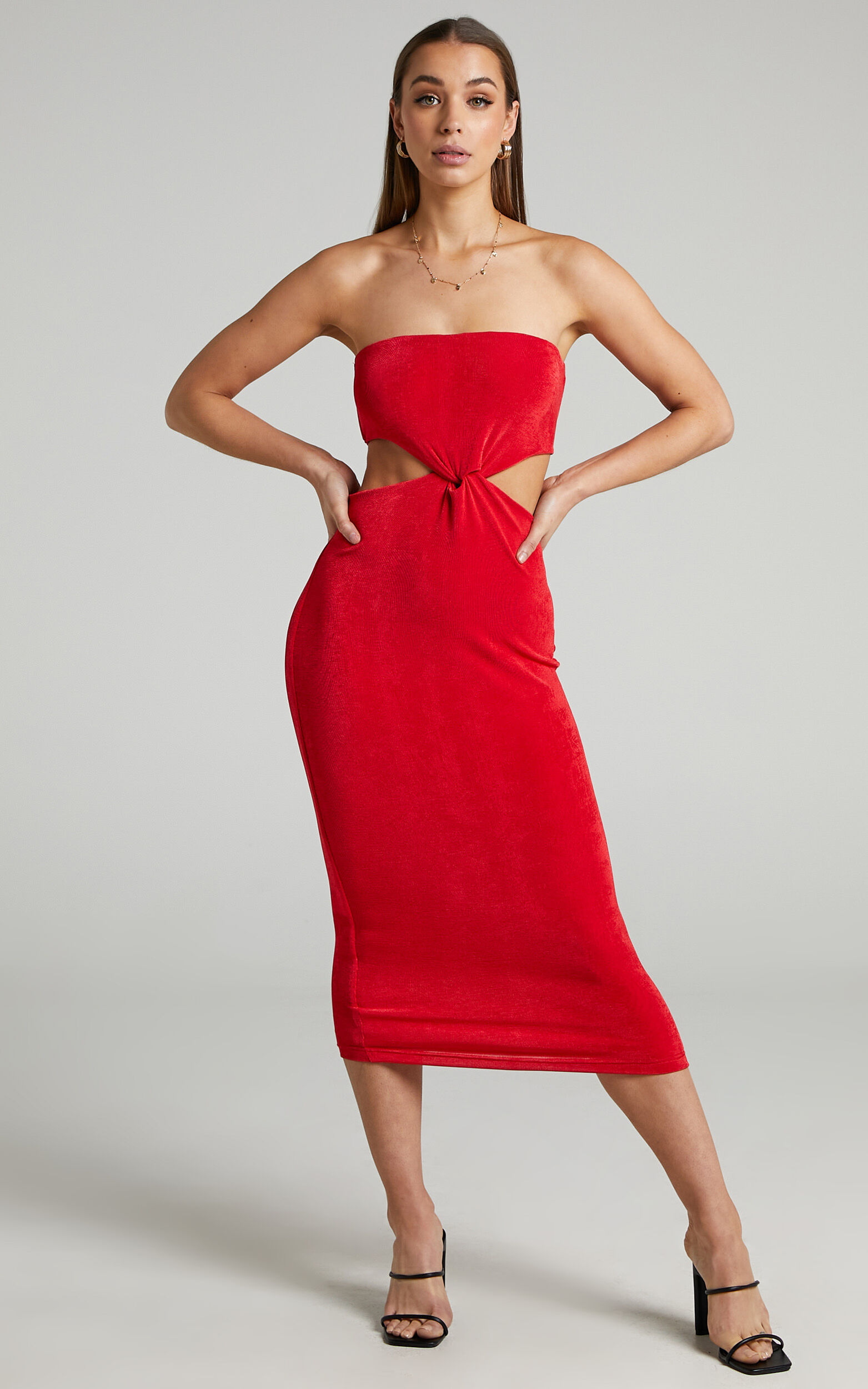 Candence Twist Front Strapless Dress in Red - 04, RED1, super-hi-res image number null