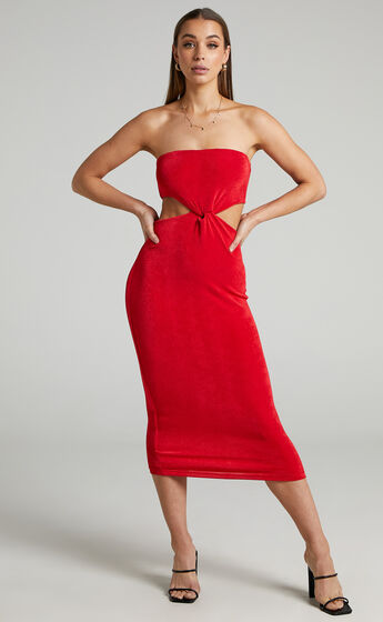 Candence Twist Front Strapless Dress in Red