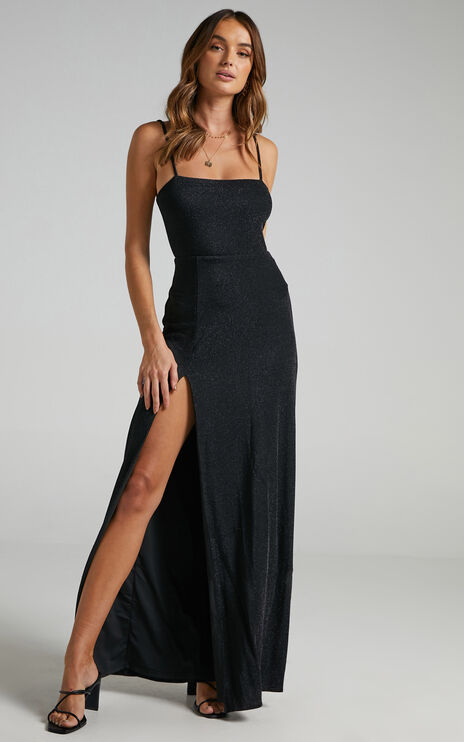 Rheannon Maxi Split Mesh Dress in Black Lurex