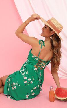 Daring Soul Dress In Green Floral