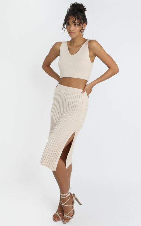 Yana Knit Skirt in Beige