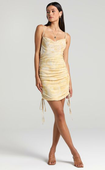 Nester Dress in Yellow Marble