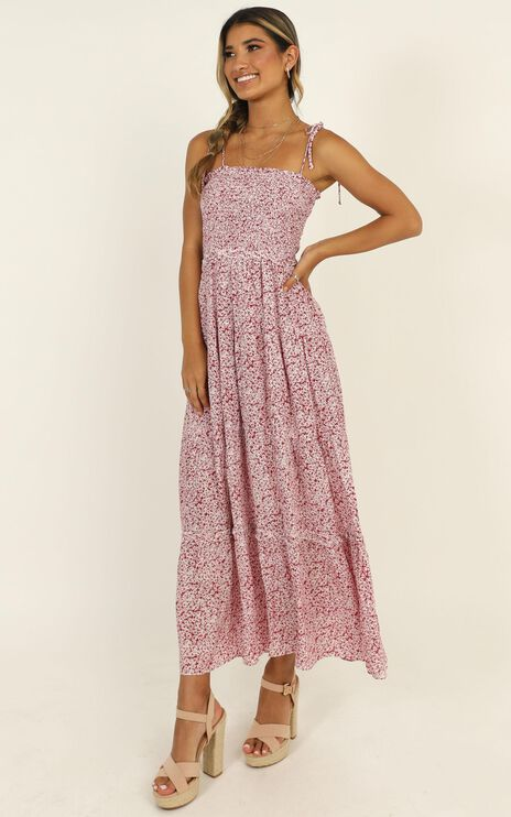 Culture Valley Maxi Dress In Red Floral