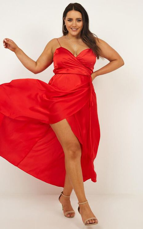 The Countess Dress In Red Satin