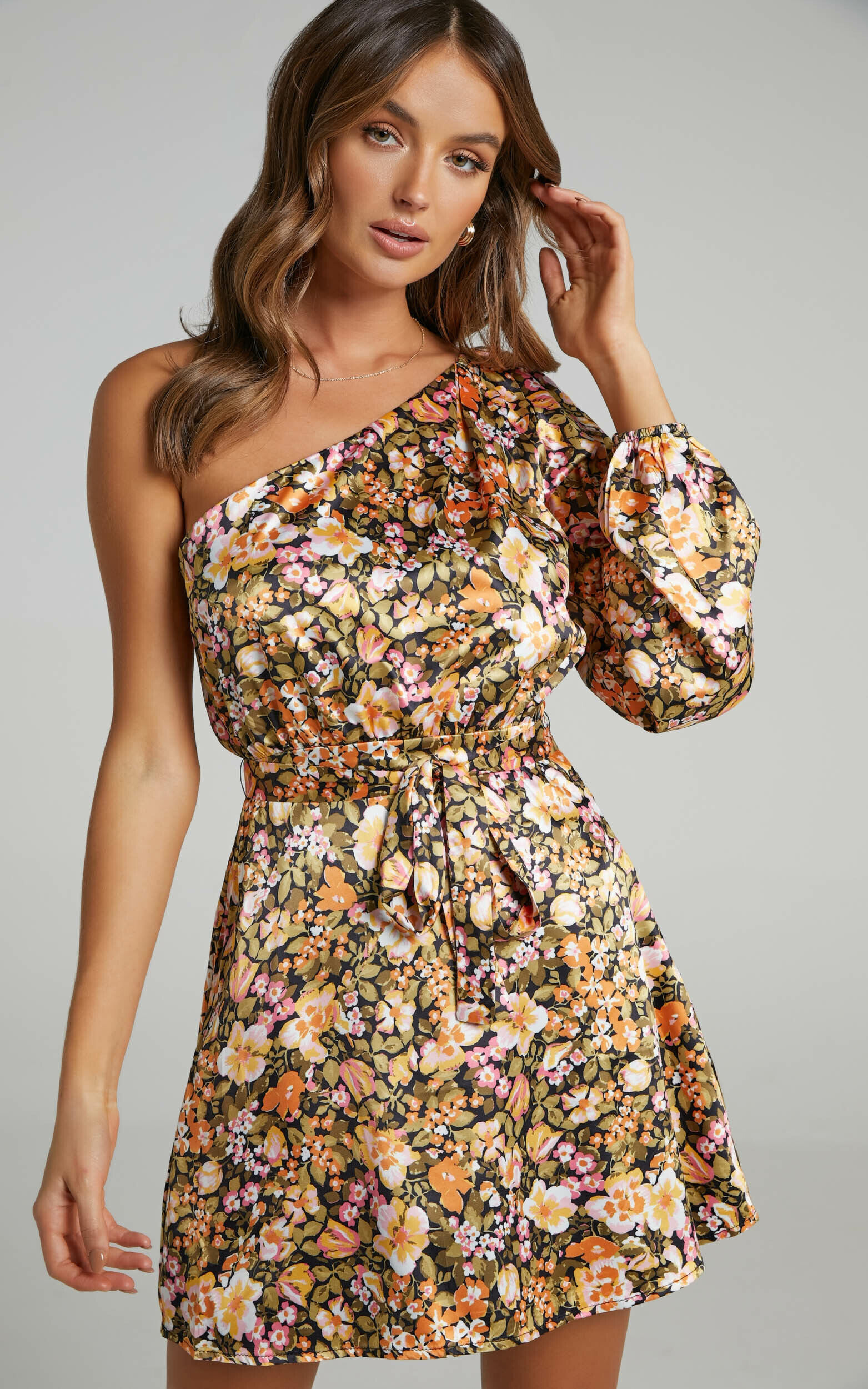 Odo One Shoulder Mini Dress in Black Floral - 04, BLK1, super-hi-res image number null
